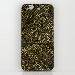 Photography Terms Word Cloud Pattern Gold on Black iPhone Skin