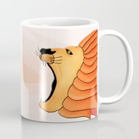 lion Mugs featuring Lion by Nir P