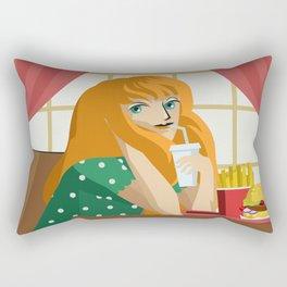 beautiful girl eating fast food Rectangular Pillow