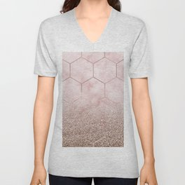 Glitter ombre hex - cloudy pink marble & rose gold glitter Unisex V-Neck
