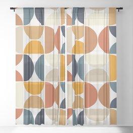 Modern Geometric Seamless Pattern Mid Century XI Sheer Curtain