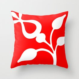 White flower on red Throw Pillow