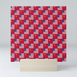 Mix of flag:  Usa and USSR Mini Art Print