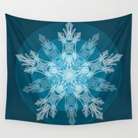 snowflake Wall Tapestries featuring 1 Blue Snowflake by ArtLovePassion