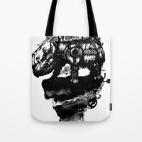 discworld Tote Bags featuring the island by Steven Toang