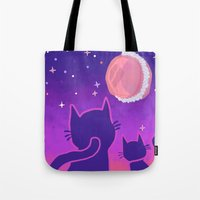 macaroon Tote Bags featuring Macaroon Moon by Noirabbit