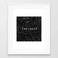 engineer Framed Art Prints featuring BLACK - ENGINEER by Be Raza