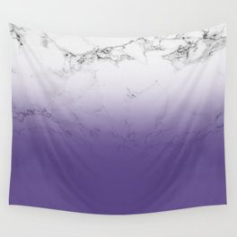 Modern white marble ultra violet purple ombre gradient Wall Tapestry