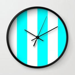 Wide Vertical Stripes - White and Aqua Cyan Wall Clock