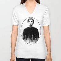snl V-neck T-shirts featuring DARK COMEDIANS: Will Ferrell by Zombie Rust