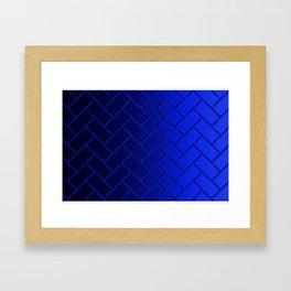 Herringbone Gradient Dark Blue Framed Art Print