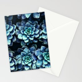 Blue And Green Succulent Plants Stationery Cards