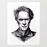 clint eastwood Art Prints featuring Clint Eastwood by Oriane Mlr
