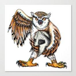 Owl Holding Spartan Helmet Tattoo Canvas Print