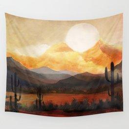 Desert in the Golden Sun Glow Wall Tapestry