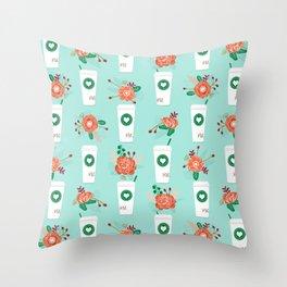 Coffee lovers mint floral bouquet gift idea for sbucks fan java pattern kitchen food Throw Pillow