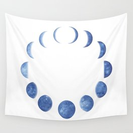 Blue Moon Phases | Watercolor Painting Wall Tapestry