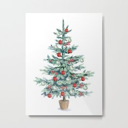Christmas tree with red balls Metal Print