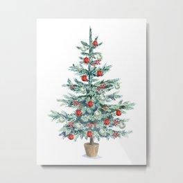 Christmas tree with red balls Metal Print