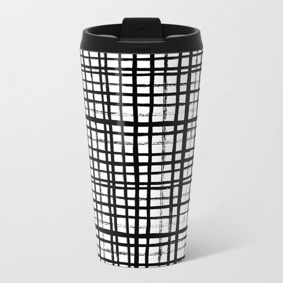Essie - Grid, Black and White, BW, grid, square, paint, design, art Metal Travel Mug