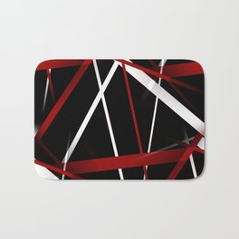 Seamless Red and White Stripes on A Black Background Bath Mat