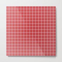 English vermillion - pink color -  White Lines Grid Pattern Metal Print