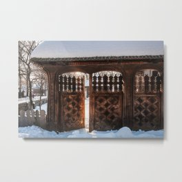 Enter the gate into the winter season! Metal Print