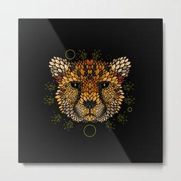 Cheetah Face Metal Print