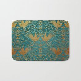 """""""Turquoise and Gold Paradise Birds"""" Bath Mat"""