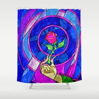 punisher Shower Curtains featuring Beauty And The Beast Red Rose Flower by Electra