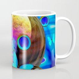 SURREAL NEON BLUE BUTTERFLIES IRIDESCENT SOAP BUBBLES PEACOCK EYES Coffee Mug