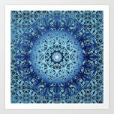 Blue Nouveau Mandala Art Print