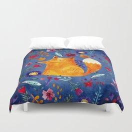 The Smart Fox in Flower Garden Duvet Cover