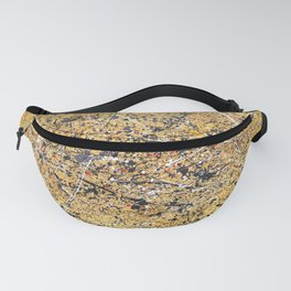 Jackson Pollock Style Painting Yellow and Black Artwork Fanny Pack