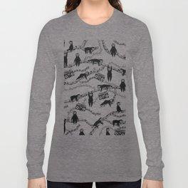 Eighties Music Sloth Pattern Long Sleeve T-shirt