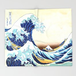 The Great Wave off Kanagawa Throw Blanket