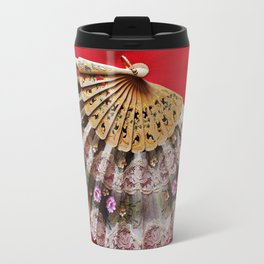 Ornate Hand Held Fan on a Red Background Travel Mug