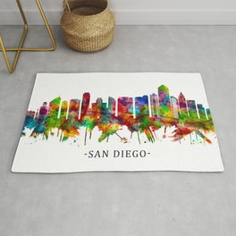 San Diego California Skyline Rug