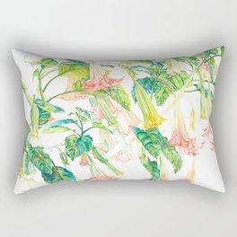 Brugmansia Delicate Floral Watercolor Trumpet Flower Painting Rectangular Pillow