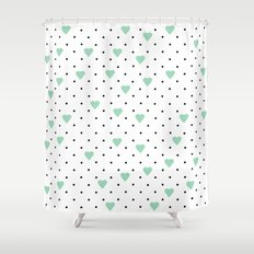 Pin Point Hearts Mint Shower Curtain