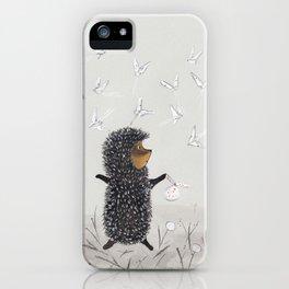 Hedgehog in the Fog fly like butterflies iPhone Case