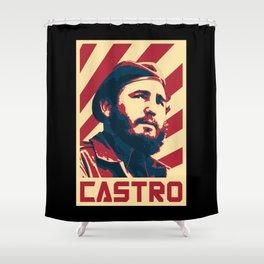 Fidel Castro Retro Propaganda Shower Curtain