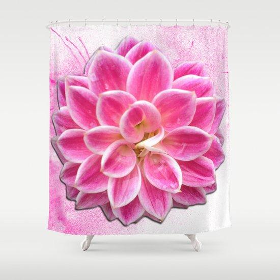Pretty in Pink Dahlia Shower Curtain
