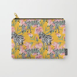 Striped For Life, Zebra Mid-Century Modern Bohemian Illustration, Jungle Tropical Eclectic Painting Carry-All Pouch