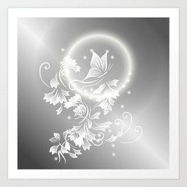 Floral Butterfly Silver Art Print