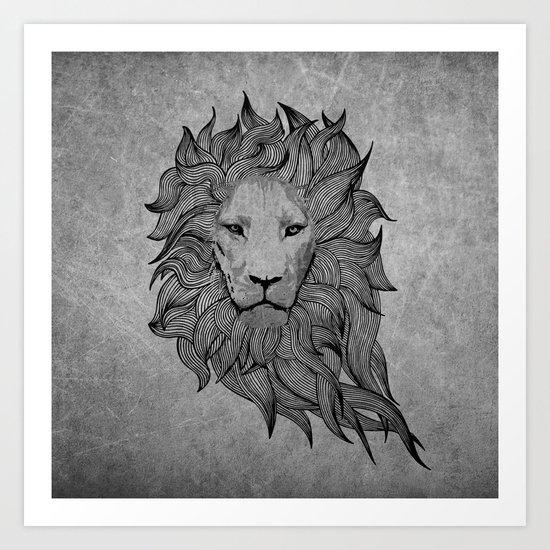 Grey Lion Art Print