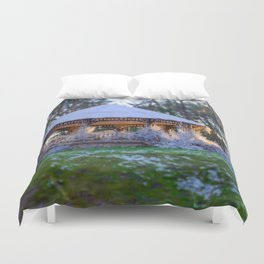 Kiosk in winter Duvet Cover