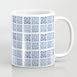 White & Blue Farmhouse Rustic Tradtional Moroccan Style Tiles Texture Coffee Mug