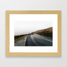 Misty Lonely Road Framed Art Print
