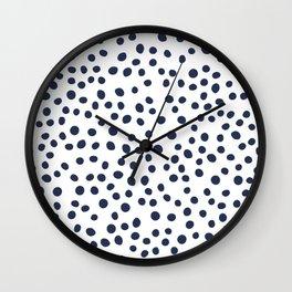 Dark blue vector doodle circle dot Wall Clock